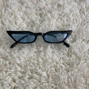 Accessories - Black and Blue Slim Retro Tinted Sunglasses